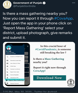 This tweet shows that users can report mass gatherings by clicking a picture, and submit their remarks alongside it as well